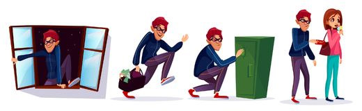 Vector cartoon robber, thief characters set royalty free illustration