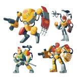 Vector cartoon robot guards, futuristic exoskeleton armor vector illustration