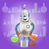 Vector cartoon robot science experiment Royalty Free Stock Images