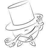 Vector cartoon round man in a hat and a pipe Royalty Free Stock Photo