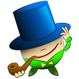 Vector cartoon round man in a hat and a pipe Royalty Free Stock Image