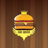 Vector cartoon royal king burger with cheese and golden crown icon isolated on on wooden table background. Gourmet burger, hamburger, cheeseburger label design Royalty Free Stock Photography