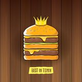 Vector cartoon royal king burger with cheese and golden crown icon isolated on on wooden table background. Gourmet burger, hamburger, cheeseburger label design Royalty Free Stock Image