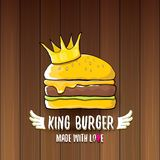Vector cartoon royal king burger with cheese and golden crown icon  on on wooden table background. Gourmet burger, hamburger, cheeseburger label design element Stock Photos