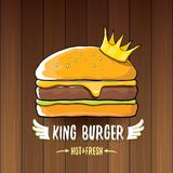 Vector cartoon royal king burger with cheese and golden crown icon  on on wooden table background. Gourmet burger, hamburger, cheeseburger label design element Stock Images
