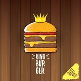 Vector cartoon royal king burger with cheese and golden crown icon  on on wooden table background. Gourmet burger, hamburger, cheeseburger label design element Royalty Free Stock Photo