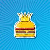 Vector cartoon royal king burger with cheese and golden crown sticker. Vector cartoon royal king burger with cheese and golden crown sticker isolated on on Royalty Free Stock Image