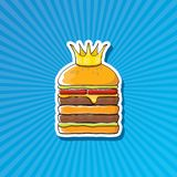 Vector cartoon royal king burger with cheese and golden crown sticker. Vector cartoon royal king burger with cheese and golden crown sticker isolated on on Royalty Free Stock Photo