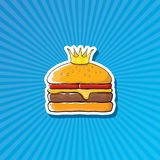 Vector cartoon royal king burger with cheese and golden crown sticker. Isolated on on blue background. Gourmet burger, hamburger, cheeseburger label design Stock Image