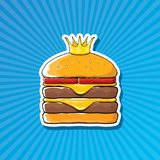 Vector cartoon royal king burger with cheese and golden crown sticker. Isolated on on blue background. Gourmet burger, hamburger, cheeseburger label design Royalty Free Stock Image