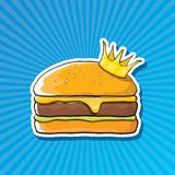 Vector cartoon royal king burger with cheese and golden crown sticker. Vector cartoon royal king burger with cheese and golden crown sticker isolated on on Stock Images