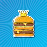Vector cartoon royal king burger with cheese and golden crown sticker. Isolated on on blue background. Gourmet burger, hamburger, cheeseburger label design Royalty Free Stock Images