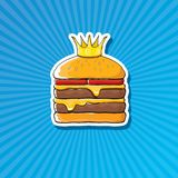 Vector cartoon royal king burger with cheese and golden crown sticker. Vector cartoon royal king burger with cheese and golden crown sticker isolated on on Stock Photography