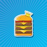 Vector cartoon royal king burger with cheese and golden crown sticker. Vector cartoon royal king burger with cheese and golden crown sticker isolated on on Royalty Free Stock Photos