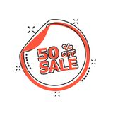 Vector cartoon sale sticker 50% percent off icon in comic style. Sale 50% sign illustration pictogram. Discount business splash effect concept Stock Photos
