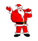 Vector Cartoon - Santa Claus character. Happy Santa Claus with bag of gifts Royalty Free Stock Photo