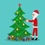 Vector cartoon Santa Claus decorate Christmas tree Stock Photo