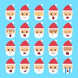 Vector cartoon santa claus faces showing different emotions stock illustration