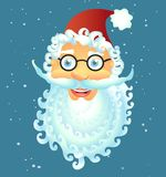 Vector cartoon Santa Claus smile happy face decoration with spec. Tacled isolated on white background vector Illustration christmas new year Royalty Free Stock Photo