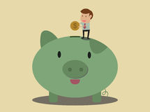 Vector cartoon of Saving concept. Businessman put coin to piggy bank Royalty Free Stock Photos