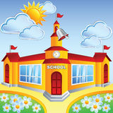 Vector cartoon school  building Royalty Free Stock Image