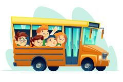 Vector cartoon school bus full of happy kids. Vector cartoon school bus full of smiling kids. Yellow retro vehicle with smiling boy girl student characters Stock Images