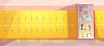 Vector school hallway with showcase for trophies vector illustration