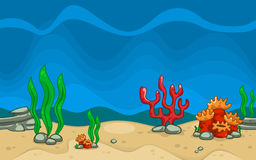 Vector cartoon sea creature and plant in blue underwater. Including sea weed, coral, kelp and stones Stock Photography