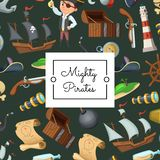 Vector cartoon sea pirates background with place for text illustration vector illustration