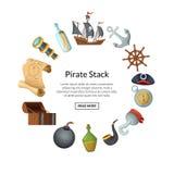 Vector cartoon sea pirates vector illustration