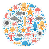 Vector cartoon sea underwater creatures background Stock Photos