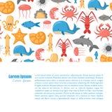 Vector cartoon sea underwater creatures background Stock Images