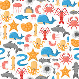 Vector cartoon sea underwater creatures background Royalty Free Stock Photography