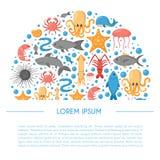 Vector cartoon sea underwater creatures background Royalty Free Stock Image