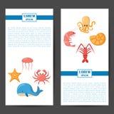 Vector cartoon sea underwater creatures background Stock Photography
