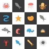 Vector cartoon sea underwater creatures icons Royalty Free Stock Image