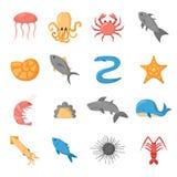 Vector cartoon sea underwater creatures icons Stock Photo