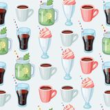 Seamless background of sweet milkshake. Cartoon Pattern. Vector cartoon seamless background: non-alcoholic beverages herbal tea, smoothie, milk shake, lemonade Royalty Free Stock Photos