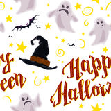 Vector cartoon seamless Halloween pattern design with magic elements isolated. Flying bats, stars, lettering, witch hat, spooky ghosts. Good for packaging Stock Photos