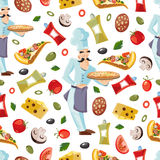 Vector Cartoon seamless pattern with ingridients of pizza Royalty Free Stock Images