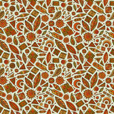 Vector cartoon seamless pattern with tribal elements Stock Photography