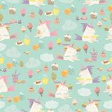 Vector cartoon seamless pattern unicorn with cake and coffee Stock Image