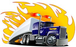 Vector Cartoon Semi Truck. Stock Images
