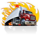 Vector Cartoon Semi Truck. One-click repaint Royalty Free Stock Image