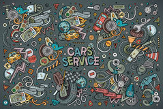 Vector cartoon set of Automobile designs. Vector hand drawn doodle cartoon set of Automobile objects and symbols Stock Images