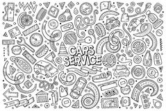 Vector cartoon set of Automobile objects. Vector line art hand drawn doodle cartoon set of Automobile objects and symbols Royalty Free Stock Photography
