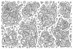 Vector cartoon set of Automobile objects. Vector line art hand drawn doodle cartoon set of Automobile objects and symbols Stock Images