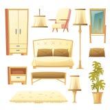 Vector cartoon set of bedroom - interior set stock illustration