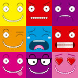 Vector Cartoon Set Of Different Cute Faces Stock Photography