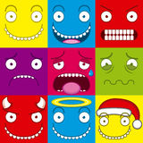 Vector Cartoon Set Of Different Cute Faces Stock Image